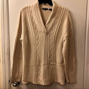 Jeanne Pierre Cable Knit Chunky V Neck Sweater